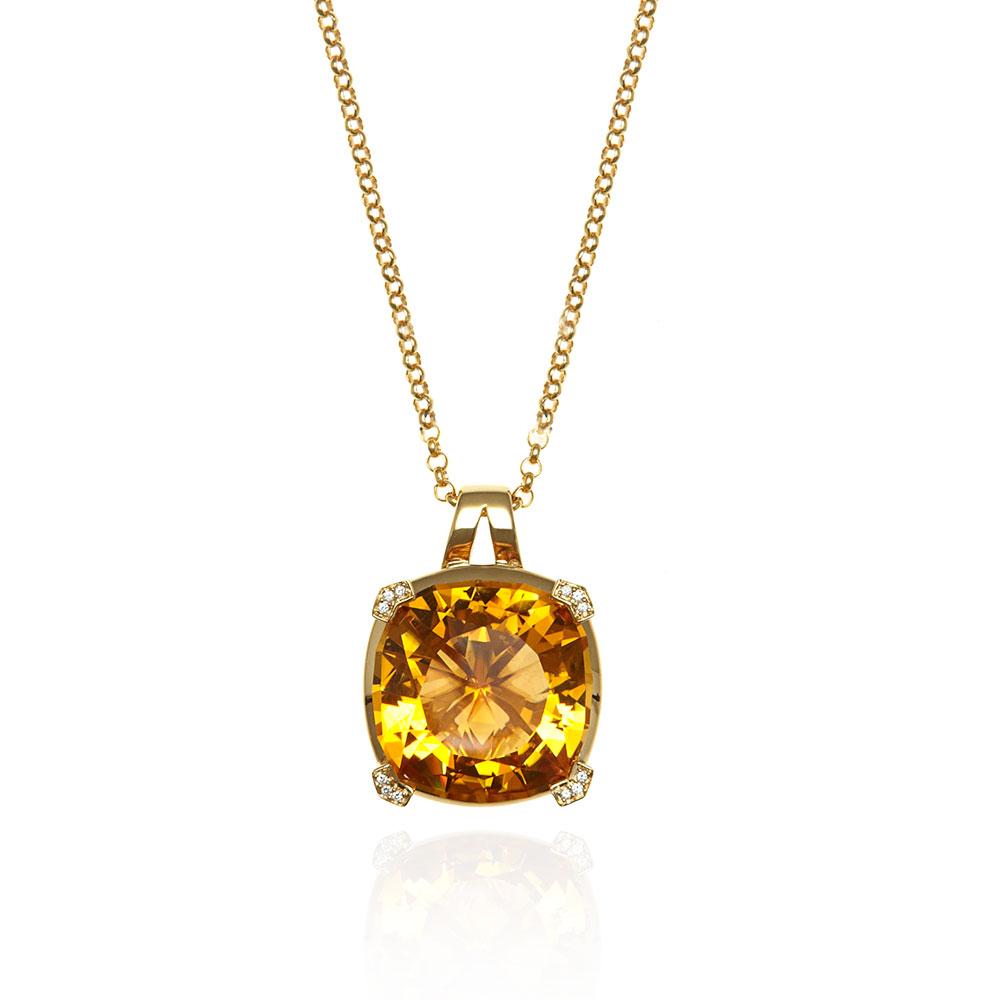 Paradigm large yellow gold citrine necklace aloadofball Choice Image